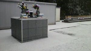合同墓地も雪
